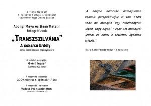 Abonyi Maya – Baán Katalin – Transzszilvánia – Erdély arcai